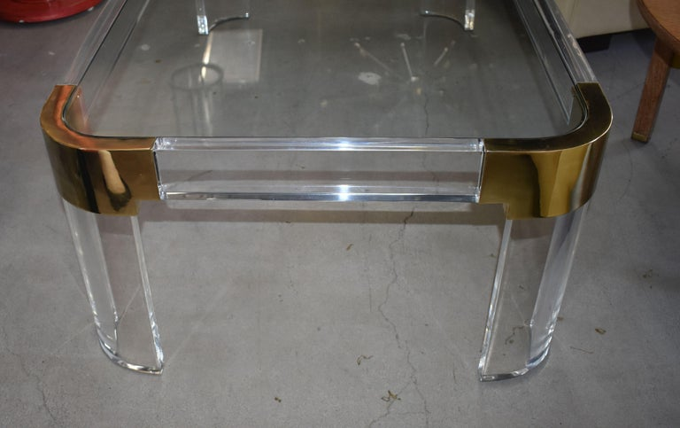American 1970s Brass & Lucite Coffee Table Signed by Charles Hollis Jones For Sale
