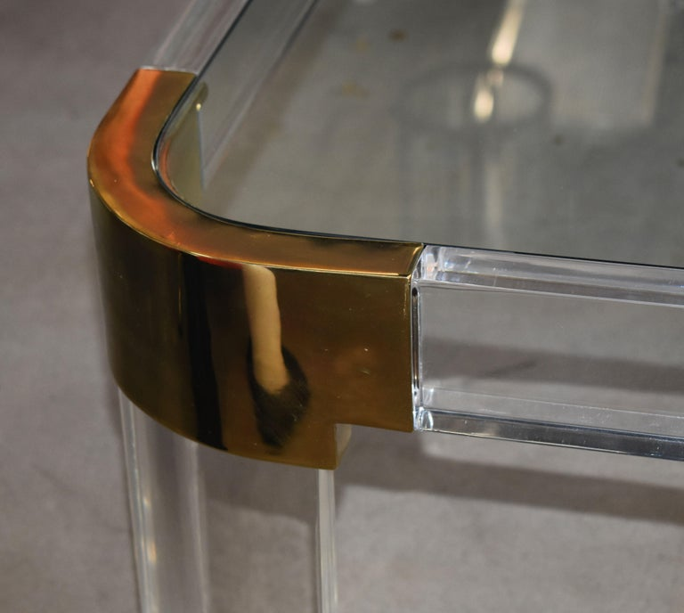 1970s Brass & Lucite Coffee Table Signed by Charles Hollis Jones In Good Condition For Sale In Cathedral City, CA