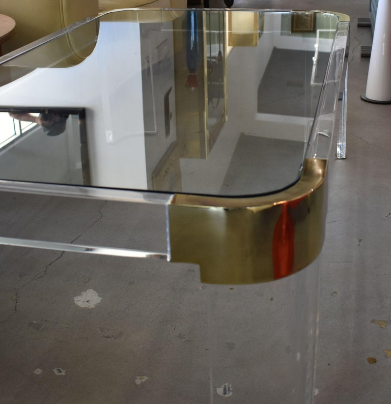 Late 20th Century 1970s Brass & Lucite Coffee Table Signed by Charles Hollis Jones For Sale