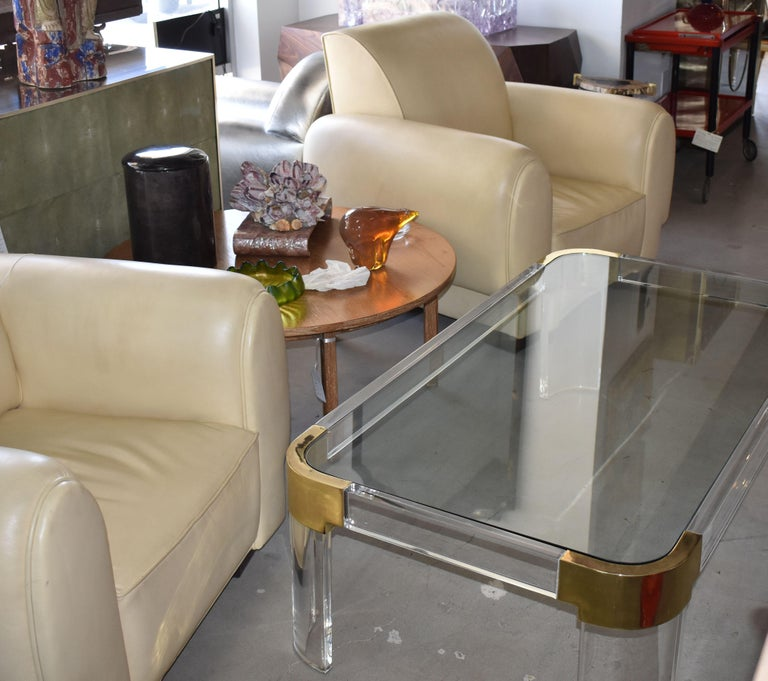 1970s Brass & Lucite Coffee Table Signed by Charles Hollis Jones For Sale 1