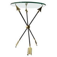 1970s Brass & Painted Steel Arrow Side Table