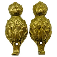 Pair of 1970s Brass Pineapple Wall Hooks