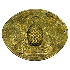 1970s Brass Pineapple 'Welcome' Plaque