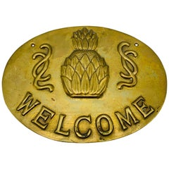 1970s Brass Pineapple 'Welcome' Wall Plaque