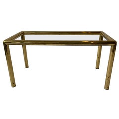 1970s Brass-Plated Coffee Table