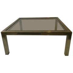 1970s Brass Plated / Glass Top Square Coffee Table