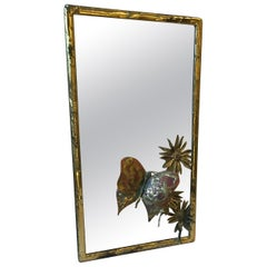 1970s  Nober Roosnr Brass Plated Small Mirror with Butterfly and Flower