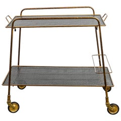 1970s Brass Serving Cart