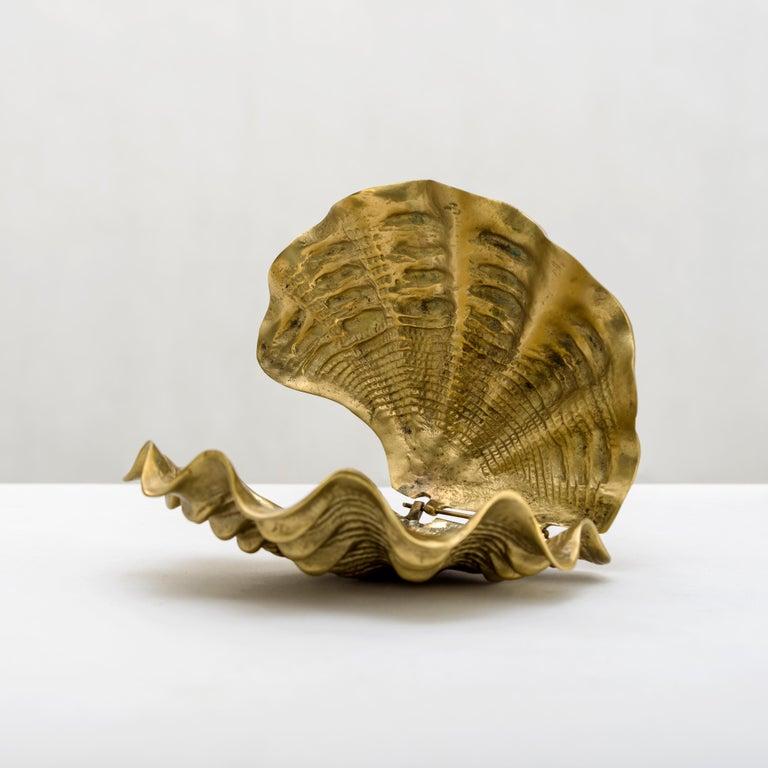 Italian 1970s Brass Shell Box For Sale