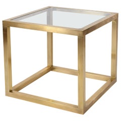 1970s Brass Square Glass Top Side Table