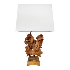 1970s Brass Table Lamp with Sandstone Bloom by Willy Daro