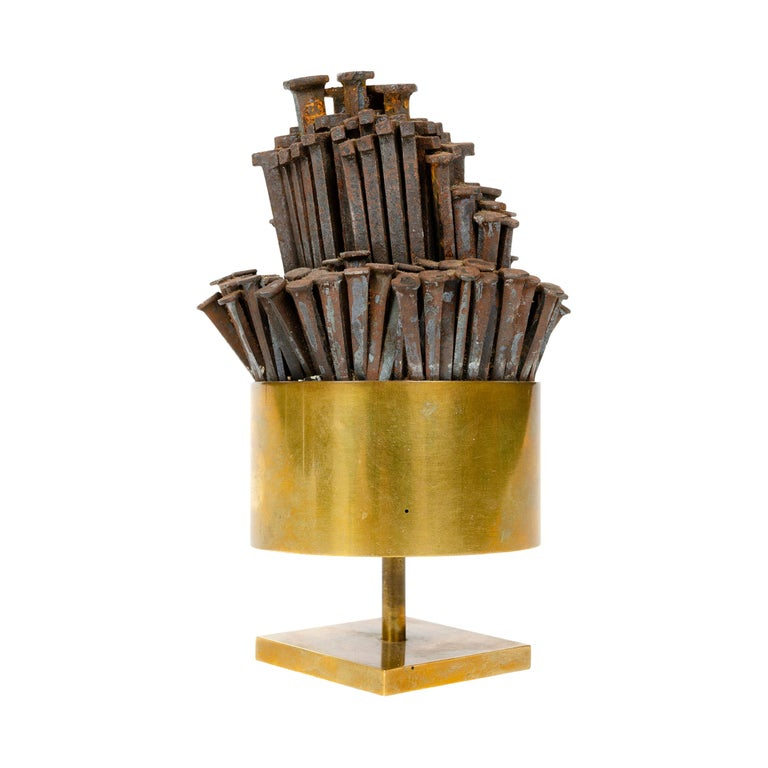 1970s Brass Tabletop Nail Sculpture For Sale