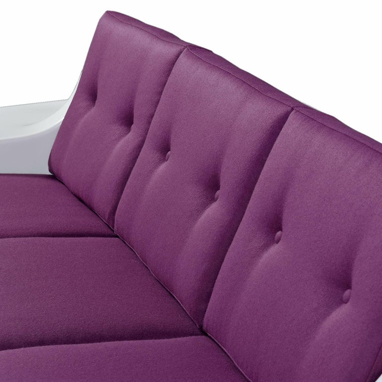 Restored Vintage Fiber Foam Sofa by Homecrest in New Plum Knoll Fabric For Sale 3