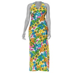 1970S Bright Floral Polyester Jersey Halter Dress With Side Slirt