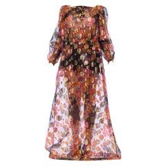 1970S Bright Multicolor Gold Lamé Poly/Lurex Fil Coupé Organza Maxi Dress
