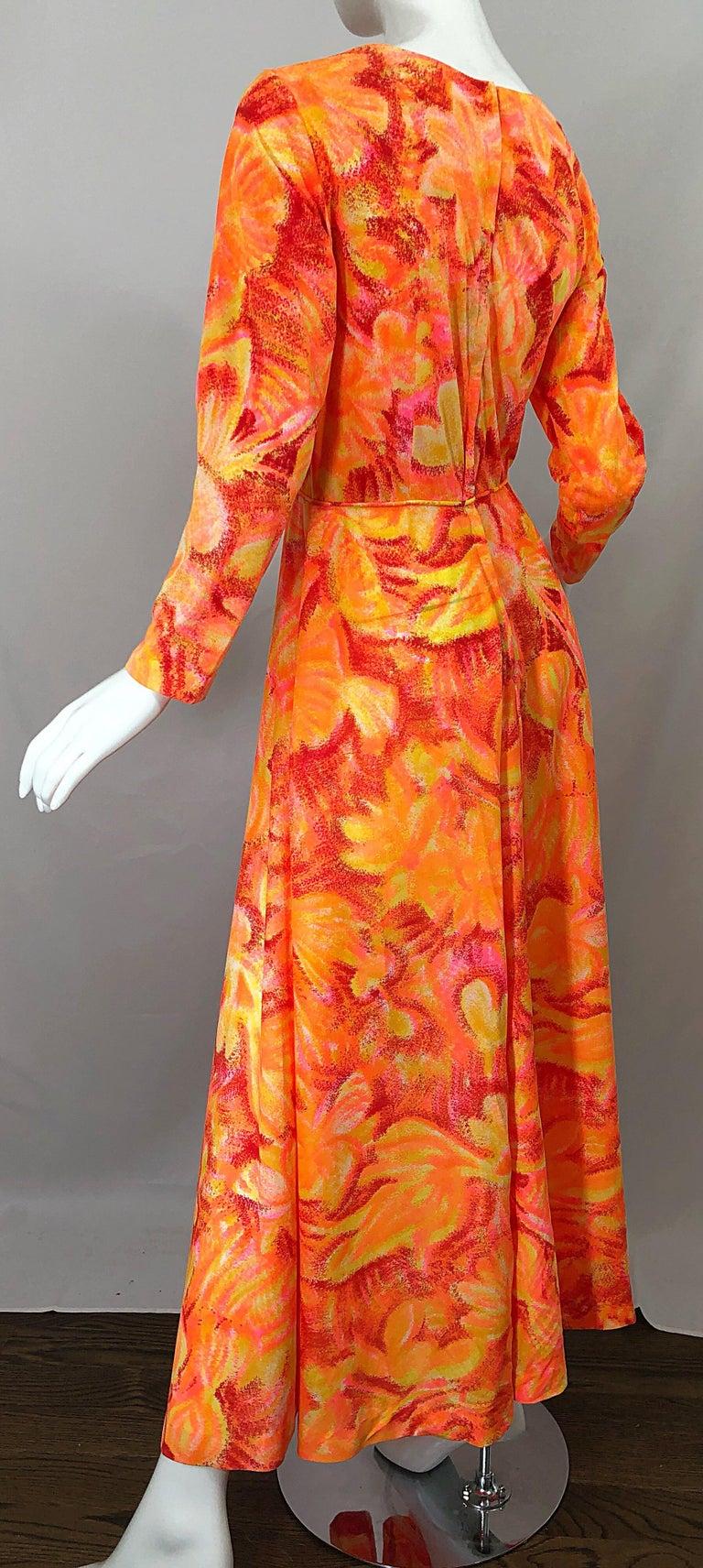 1970s Bright Neon Orange Hot Pink Abstract Flower Print