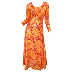1970s Bright Neon Orange + Hot Pink Abstract Flower Print Long Sleeve Maxi Dress