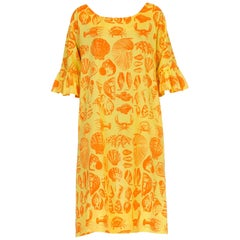 1970S Yellow & Orange Cotton Blend Bright Seaside Seashell Print Dress