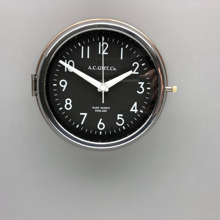 1970s British Bronze AC.GMT.Co. Industrial Wall Clock Chrome Bezel Black Dial For Sale 4