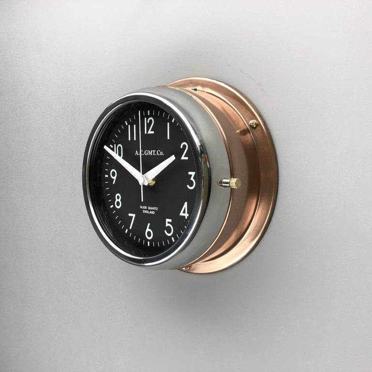 1970s British Bronze AC.GMT.Co. Industrial Wall Clock Chrome Bezel Black Dial For Sale 5