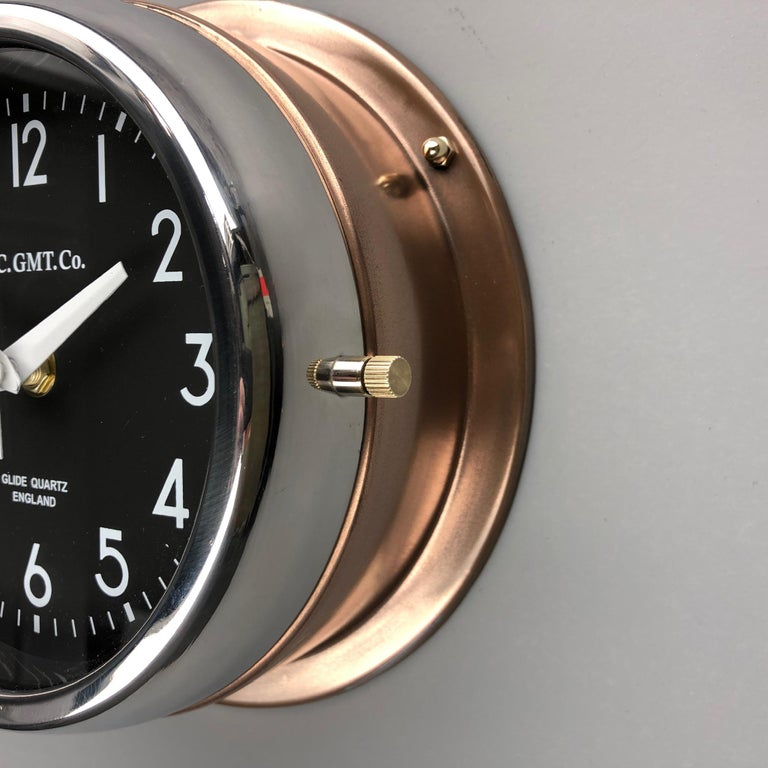 1970s British Bronze AC.GMT.Co. Industrial Wall Clock Chrome Bezel Black Dial For Sale 6
