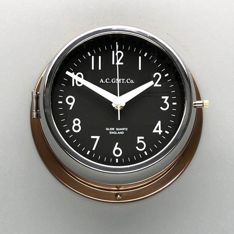 Rescued from Industrial scrap yards and brought back to life in our UK workshop, our expert process allows us to create a high quality clock of luxury standards.   At A.C GMT Co. we apply new paint finishes or lustrous copper and bronze to the