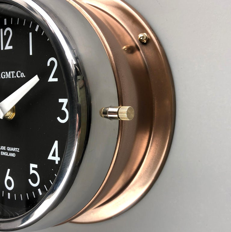 Plated 1970s British Bronze AC.GMT.Co. Industrial Wall Clock Chrome Bezel Black Dial For Sale