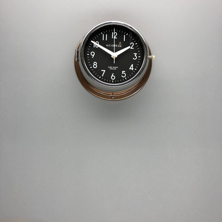 1970s British Bronze AC.GMT.Co. Industrial Wall Clock Chrome Bezel Black Dial For Sale 1