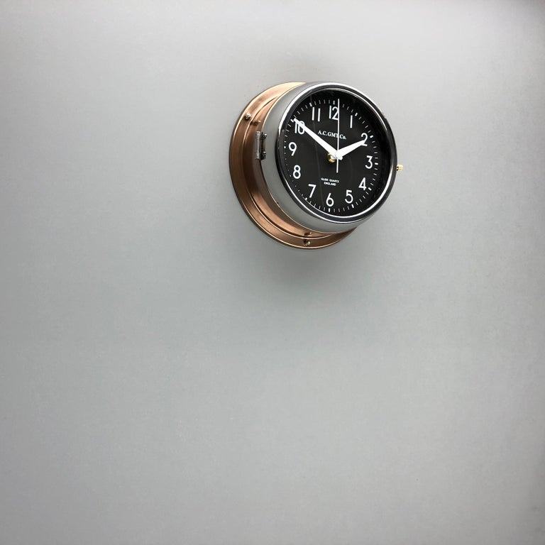 1970s British Bronze AC.GMT.Co. Industrial Wall Clock Chrome Bezel Black Dial For Sale 2