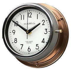 1970s British Bronze and Chrome AC GMT Co. Industrial Wall Clock White Dial