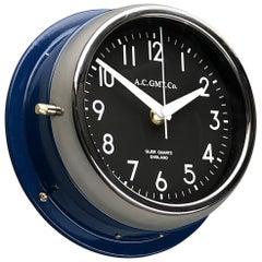 1970s British Classic Blue & Chrome AC.GMT.Co. Industrial Wall Clock Black Dial