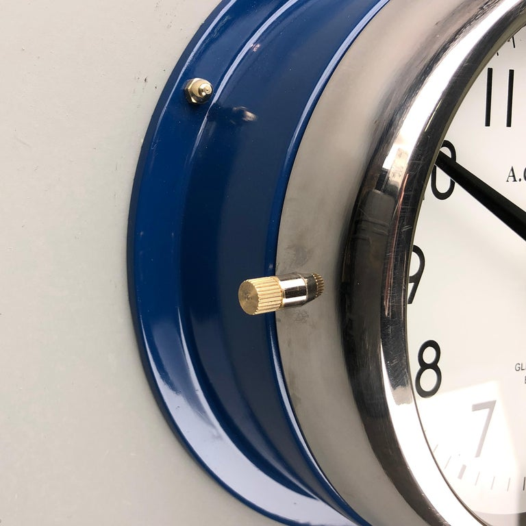 1970s British Classic Blue & Chrome AC GMT Co. Industrial Wall Clock White Dial For Sale 4
