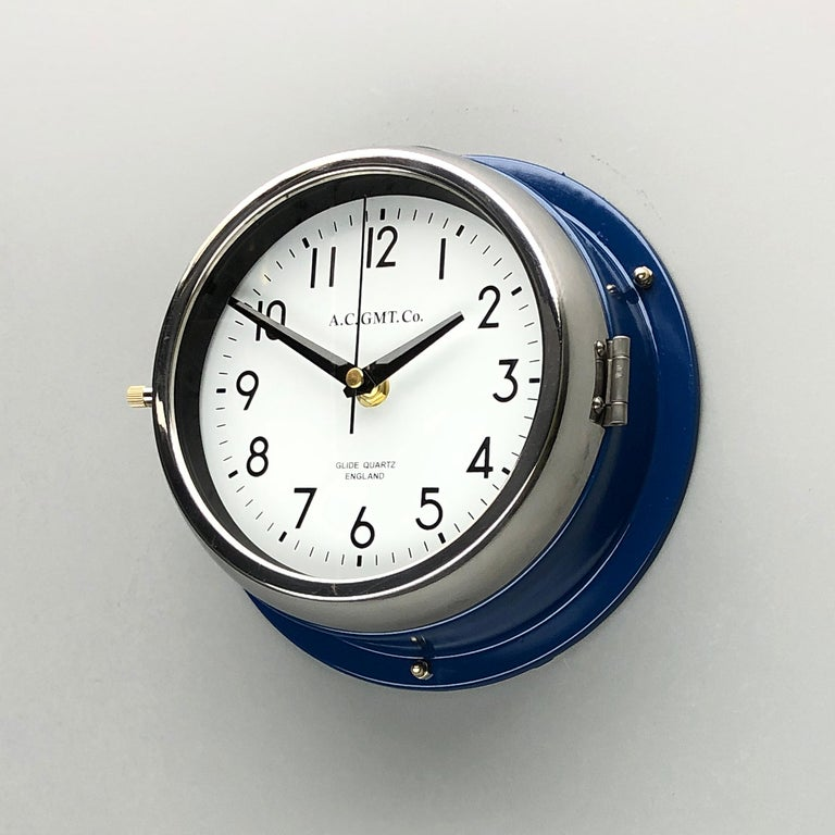 English 1970s British Classic Blue & Chrome AC GMT Co. Industrial Wall Clock White Dial For Sale