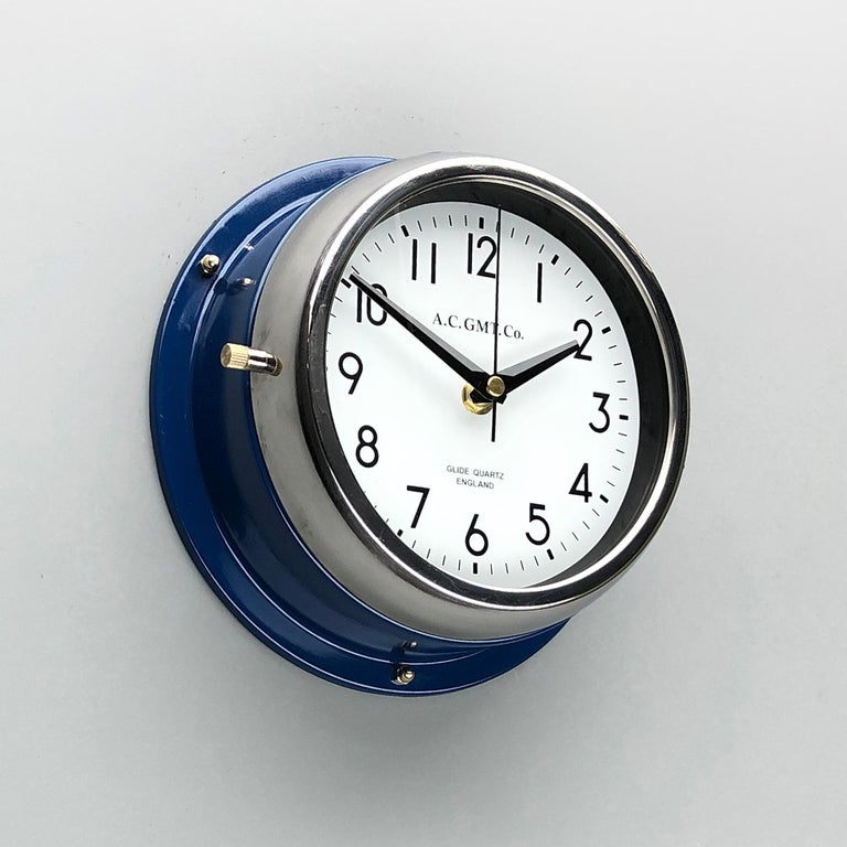 Glazed 1970s British Classic Blue & Chrome AC GMT Co. Industrial Wall Clock White Dial For Sale