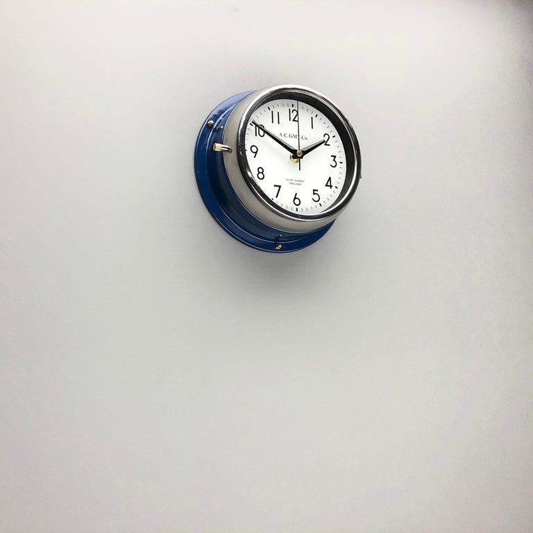 Steel 1970s British Classic Blue & Chrome AC GMT Co. Industrial Wall Clock White Dial For Sale