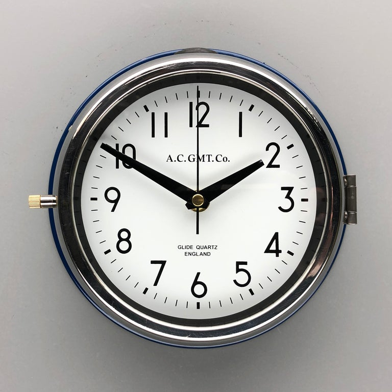 1970s British Classic Blue & Chrome AC GMT Co. Industrial Wall Clock White Dial For Sale 1