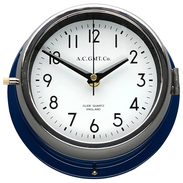 1970s British Classic Blue & Chrome AC GMT Co. Industrial Wall Clock White Dial For Sale
