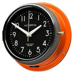 1970s British Orange & Chrome AC GMT Co. Industrial Wall Clock Black Dial