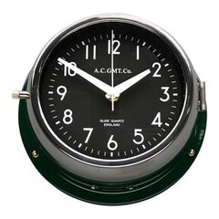 1970s British Racing Green AC.GMT.Co. Industrial Wall Clock Chrome Bezel