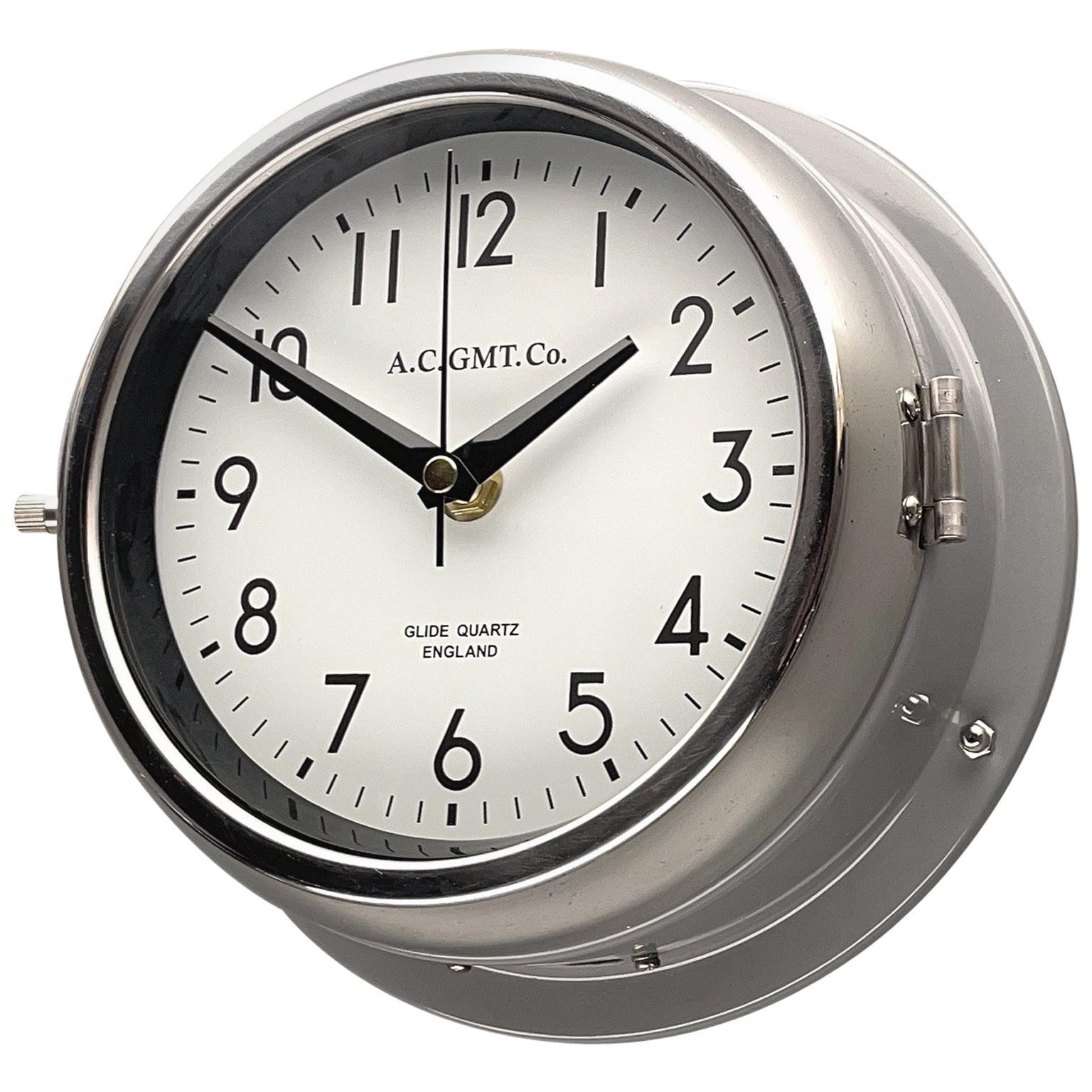 1970's British Ultimate Gray /Monochrome AC GMT Co. Classic Quartz Wall Clock