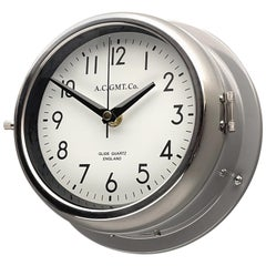 1970's British Ultimate Gray /Monochrome AC GMT Co. Classic Quartz Wall Clock
