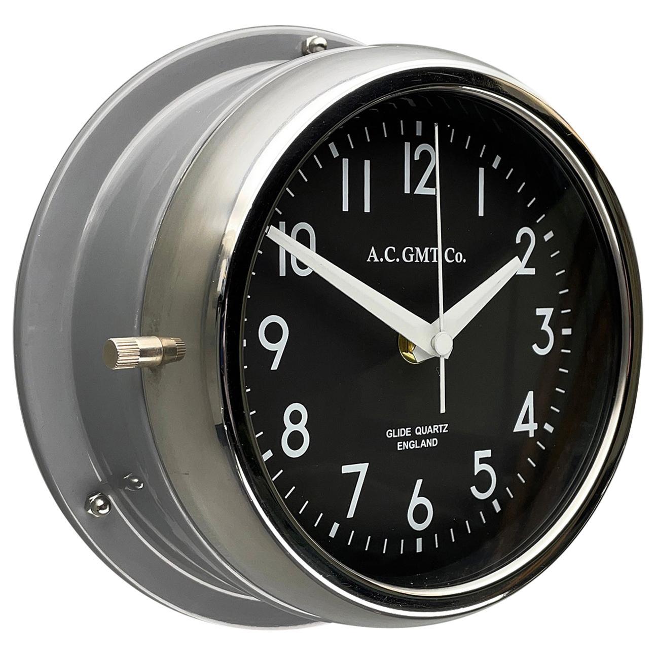 1970's British Ultimate Gray /Monochrome Black AC GMT Co. Classic Wall Clock