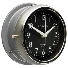1970's British Ultimate Gray /Monochrome Black AC GMT Co. Classic Wall Clock