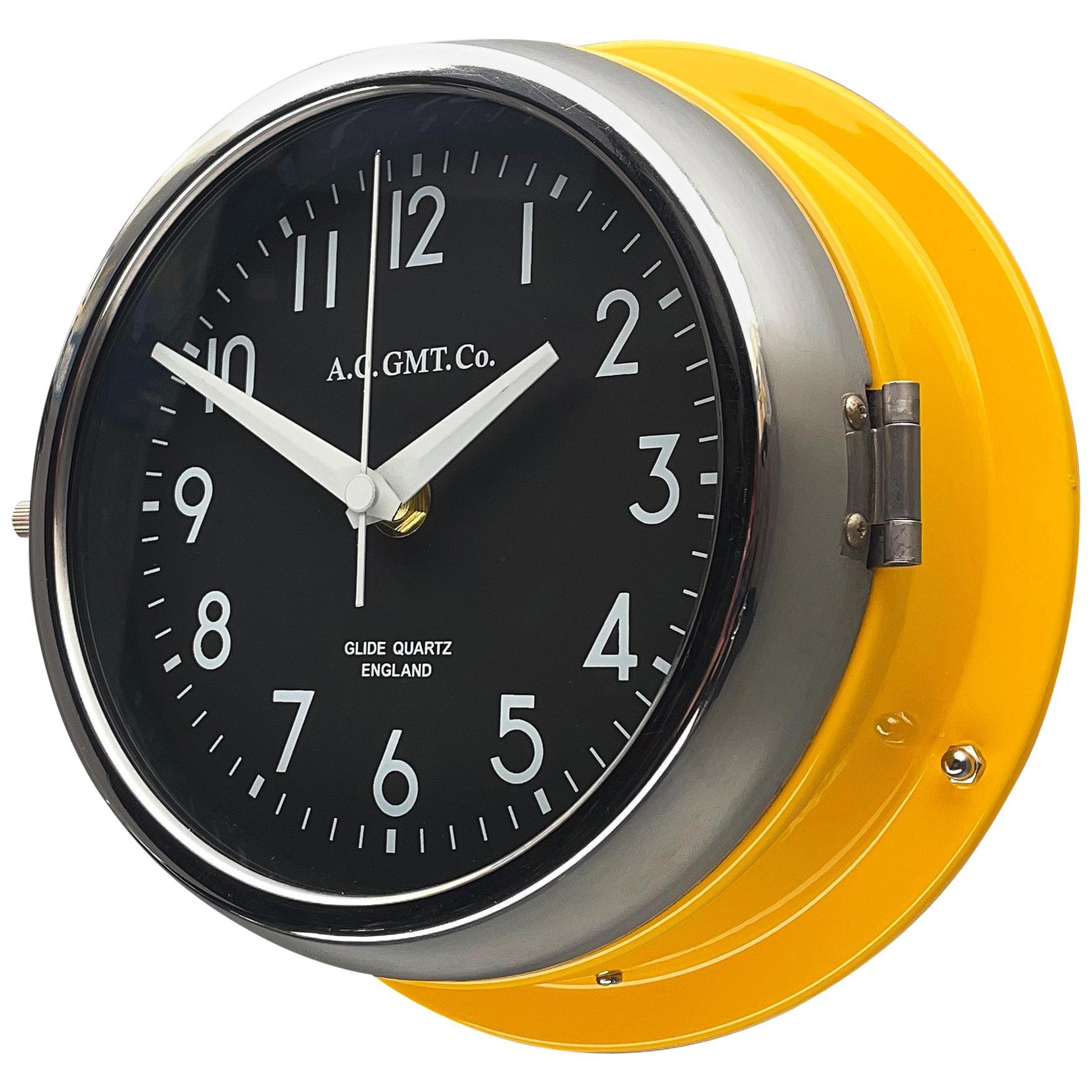 1970s British Yellow Illumination AC GMT Co. Classic Quartz Wall Clock