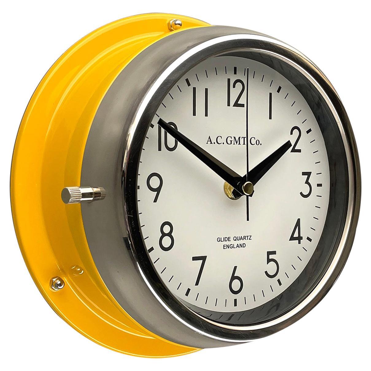 1970's British Yellow Illumination & White AC GMT Co. Classic Quartz Wall Clock
