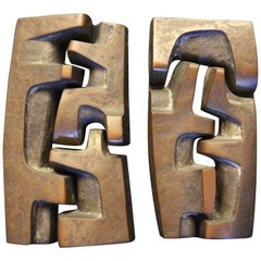 Bronze Wall Sculpture, signed and dated, Belgium 1969