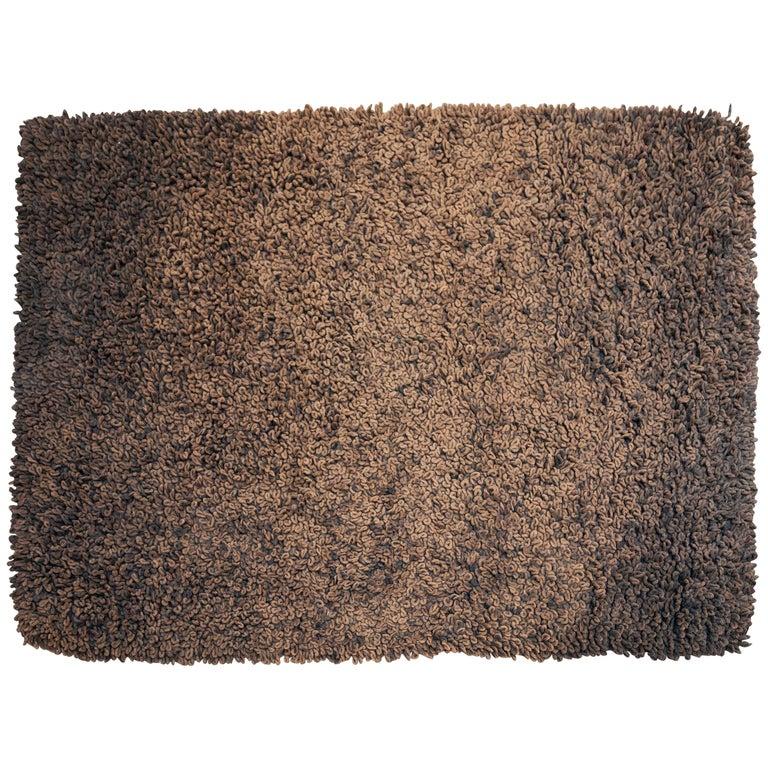 1970s Brown/Black Curly Carpet Dutch Design For Sale