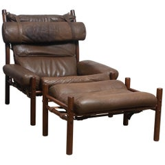 """1970s Brown Buffalo Leather Chair """"Inca"""" and Ottoman by Arne Norell Möbler AB. !"""