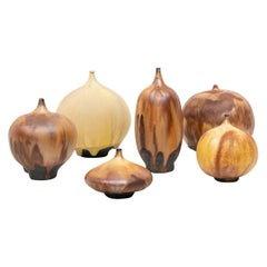 1970s Brown Ceramic Set of Six Bowls by Rose Cabat