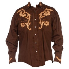 1970S Brown Cotton Embroidered Long Sleeve Men's Western Shirt